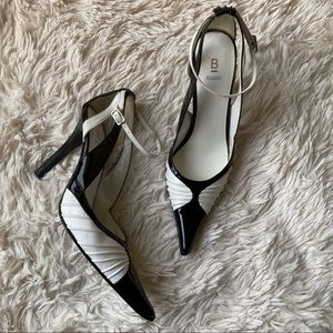 Shoes - Black & White Pointed Toe Heels